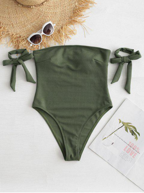 outfit ZAFUL Bandeau One Piece Swimwear - CAMOUFLAGE GREEN M Mobile