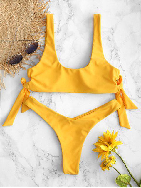 shops ZAFUL High Leg Knotted Bikini Set - RUBBER DUCKY YELLOW M Mobile