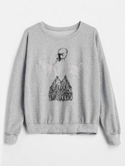 Faux Pearl Girl Print Sweatshirt - Gray