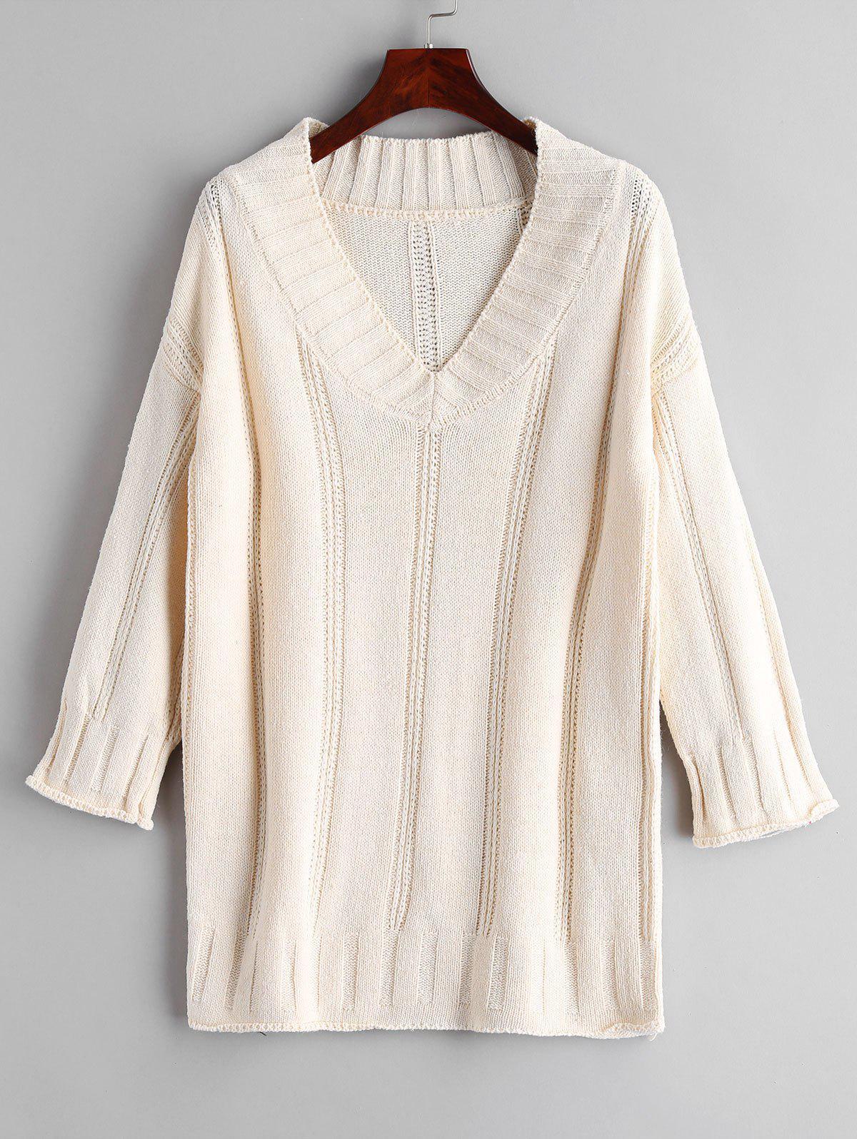 V Neck Longline Jumper Sweater