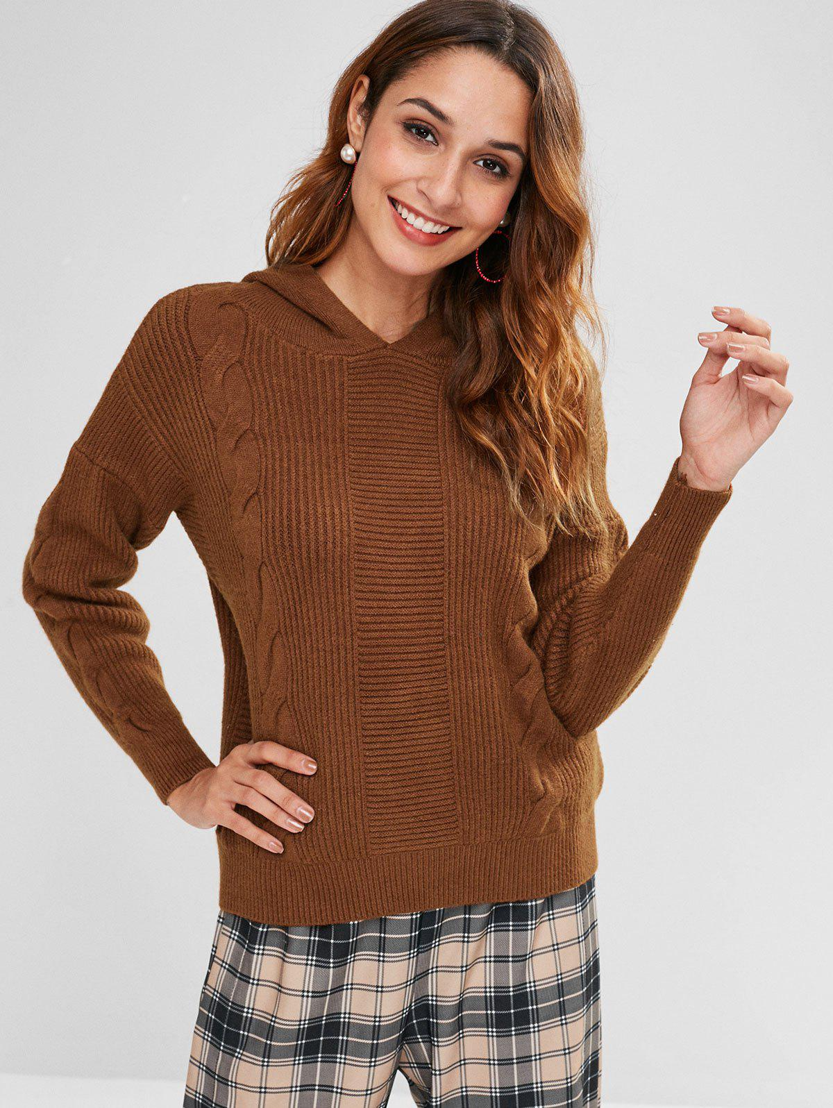 Hooded Cable Knit Jumper Sweater
