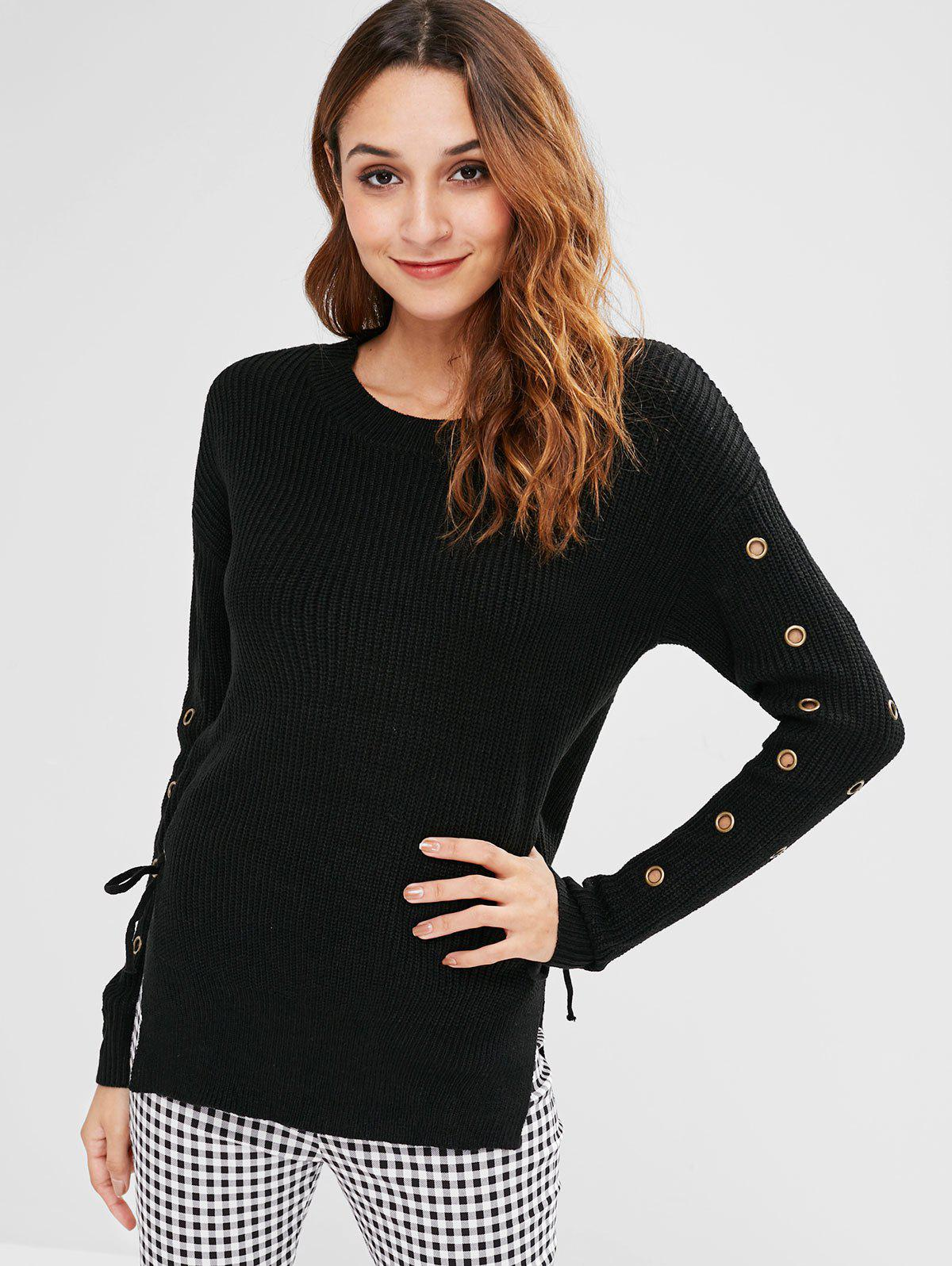 Tie Side Slit Hole Sleeves Ribbed Sweater 282235801