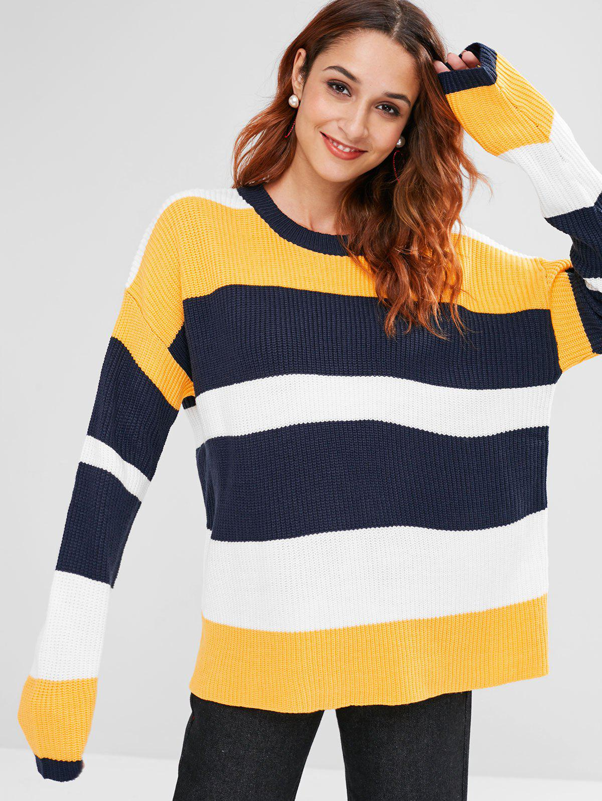 Colorblock Stripe Ribbed Sweater 282235301