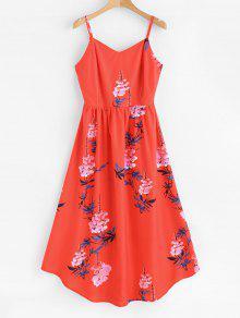 ZAFUL الأزهار طباعة ميدي اللباس كامي - أحمر S