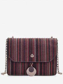 حقيبة كروس بودي من قماش مخطط - نبيذ احمر