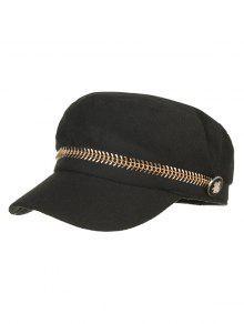 زر معدني شقة القبعة - أسود