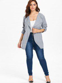 40a949c9e2b 24% OFF  2019 Plus Size Belted Duster Coat In GRAY 2X