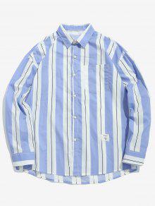 قميص مقلم على الصدر بلون مغاير - ضوء السماء الزرقاء M