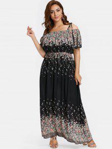 ZAFUL بالاضافة الى حجم الأزهار فستان ماكسي كامي - أسود 4x