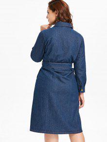 44% OFF] 2019 Plus Size Button Up Denim Shirt Dress In DENIM DARK ...