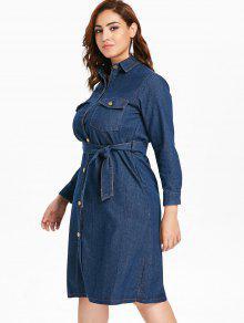 40% OFF] 2019 Plus Size Button Up Denim Shirt Dress In DENIM DARK ...