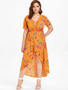 بالإضافة إلى حجم الأزهار طباعة ارتفاع منخفض فستان ماكسي التفاف - خردل 1x