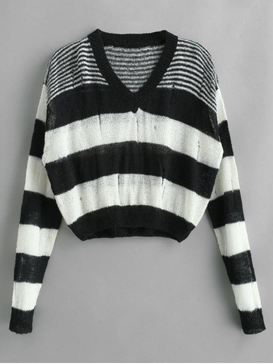 Suéter a rayas con hombros caídos y rasgado - Multicolor Talla única