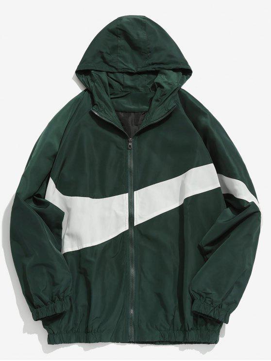 Contraste Casual Zipper Lightweight Jacket - Verde profundo M