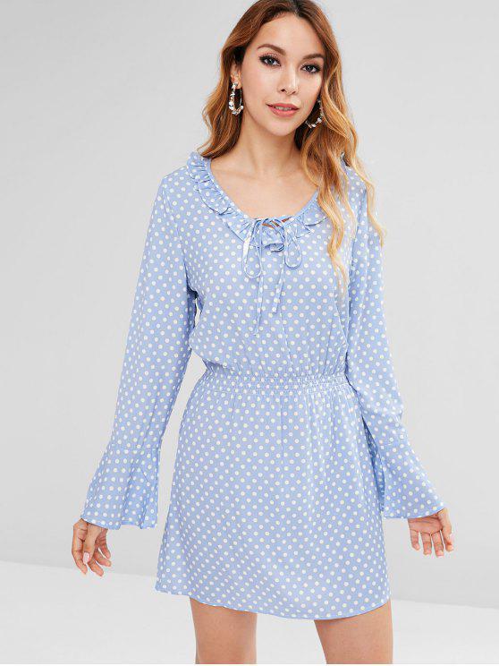 shop Ruffle Polka Dot Bell Sleeve Dress - SEA BLUE M