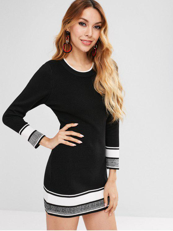 latest Striped Mini Sweater Dress - BLACK L