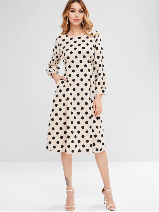 hot Dotted Tied Midi Dress - BEIGE M
