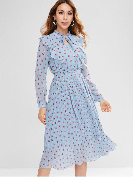 shops Polka Dot Pleated Ruffle Dress - DAY SKY BLUE L