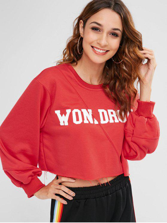 women's Letter Graphic Frayed Sweatshirt - RED ONE SIZE