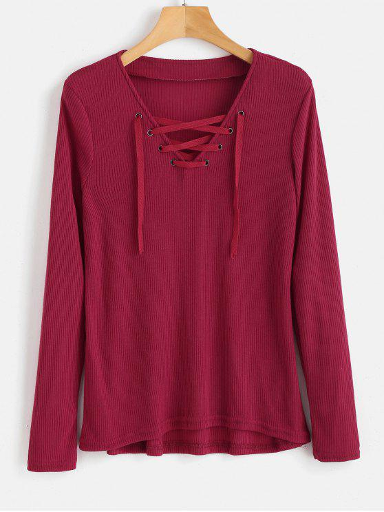 2019 Long Sleeve Ribbed Lace Up Top In Cherry Red L Zaful