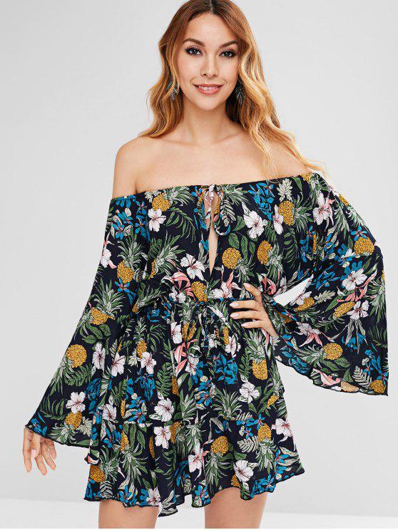 مضيئة الأكمام الزهور طباعة ميني اللباس - متعدد XL