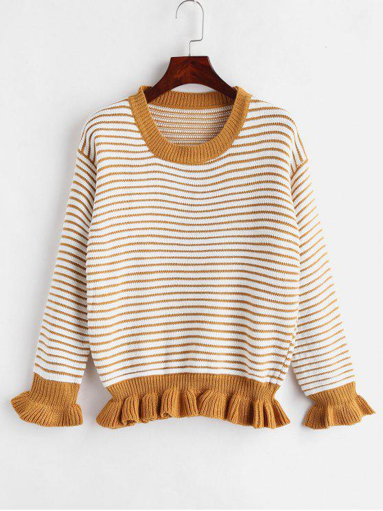 buy Drop Shoulder Striped Sweater with Flounce - MULTI ONE SIZE
