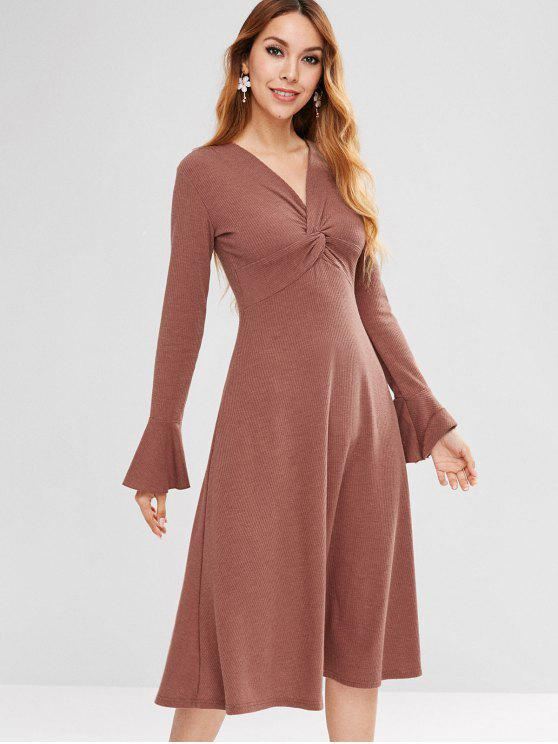 affordable Bell Sleeve Twisted Ribbed Dress - ROSY BROWN M