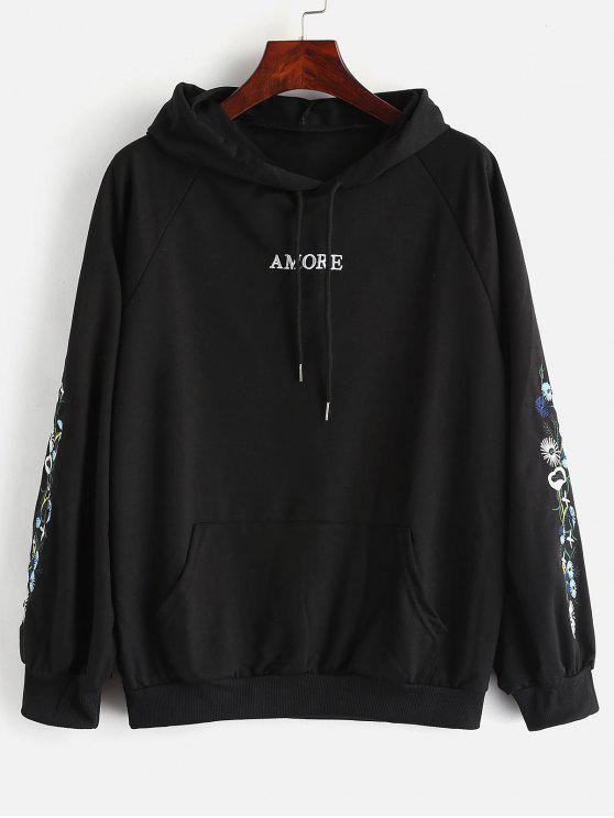 lady Front Pockets Pullover Hoodie with Embroidered - BLACK M