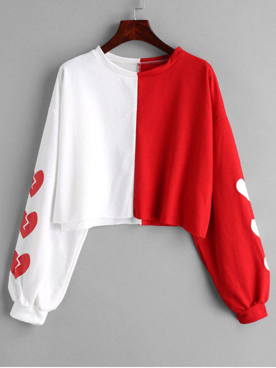 hot Contrast Pullover Graphic Sweatshirt - MULTI ONE SIZE