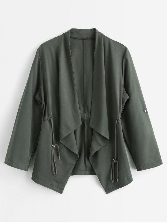 fashion Drawstring Waist Draped Trench Coat - SEAWEED GREEN L