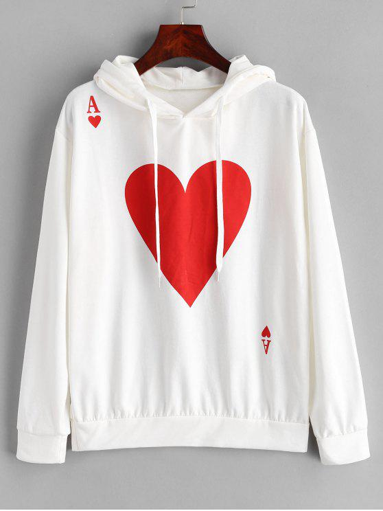 fancy Graphic Hoodie with Drop Shoulder - WHITE XL