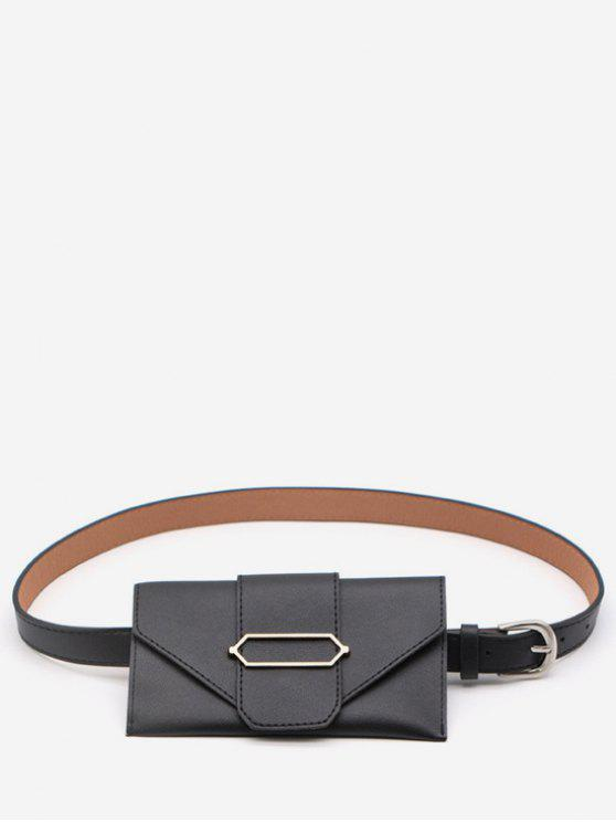 women's PU Leather Geometric Metal Waist Bag - BLACK