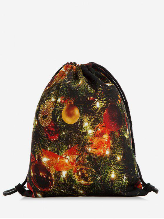 lady String Design Christmas Bell Print Backpack - MULTI