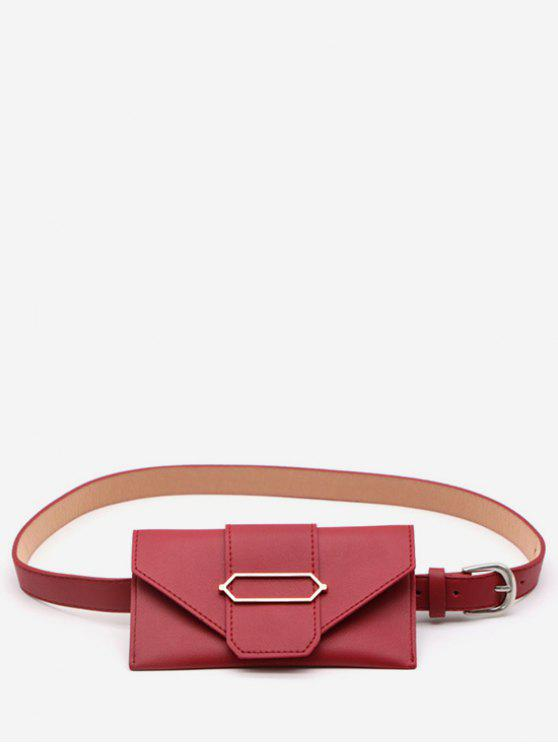 outfit PU Leather Geometric Metal Waist Bag - LAVA RED