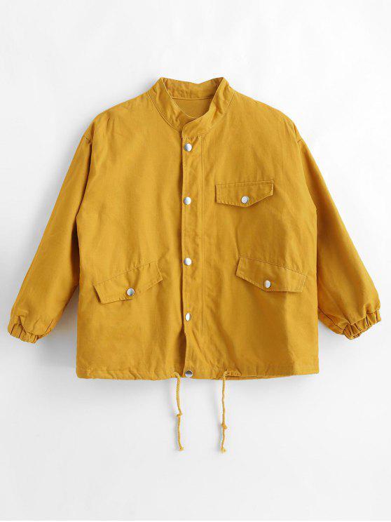 shops Pockets Drop Shoulder Jacket - YELLOW L