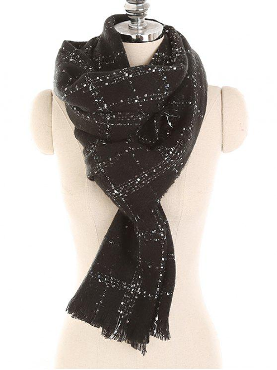 best Checked Pattern Fringed Warm Long Scarf - BLACK