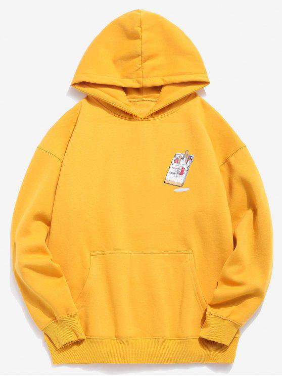 fashion Funny Printed Hip Hop Style Hoodie - BRIGHT YELLOW S
