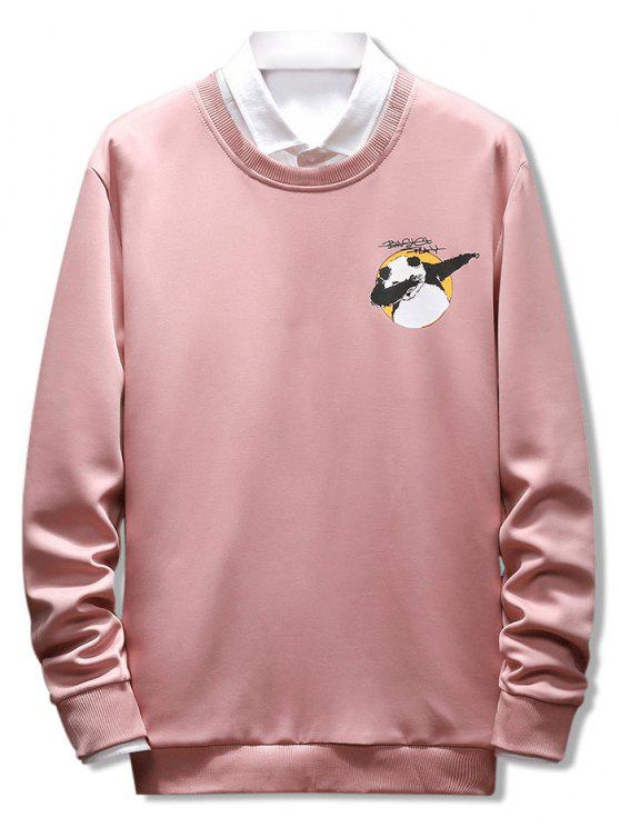 Letter Panda Printed Casual Sweatshirt - Orange Pink M