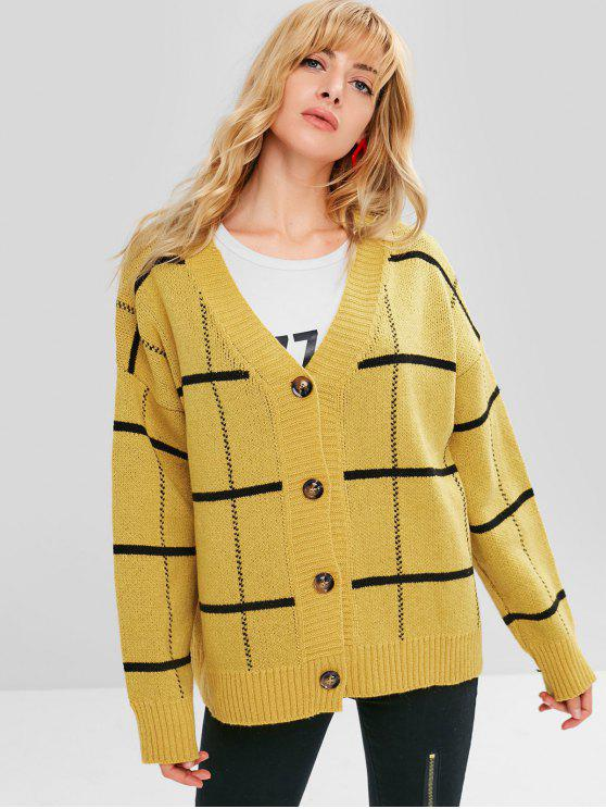 unique Stripe Loose Fit Button Front Cardigan - YELLOW ONE SIZE