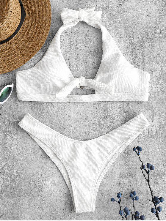 ladies Halter Textured Bikini Set - WHITE S