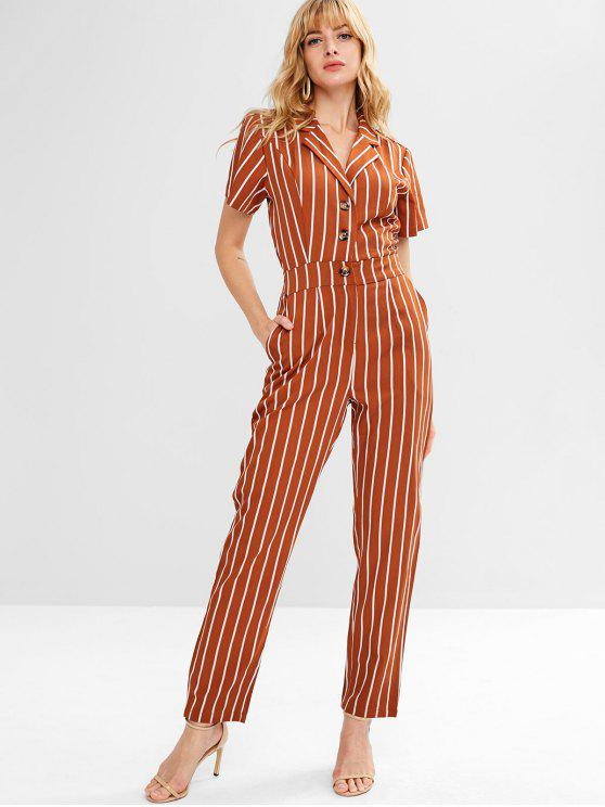 shop ZAFUL Half Buttoned Stripes Jumpsuit - LIGHT BROWN M