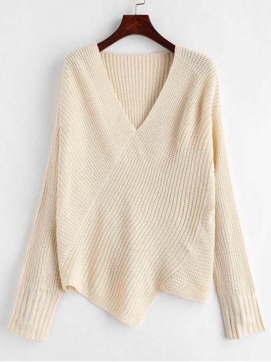 fashion Asymmetric Drop Shoulder Sweater with V Neck - BEIGE ONE SIZE
