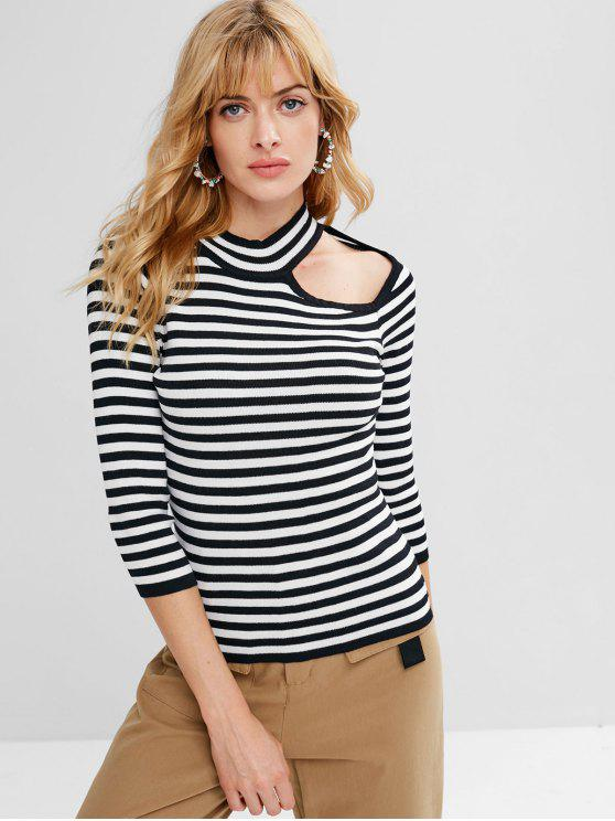 affordable Cut Out Striped Sweater - BLACK ONE SIZE