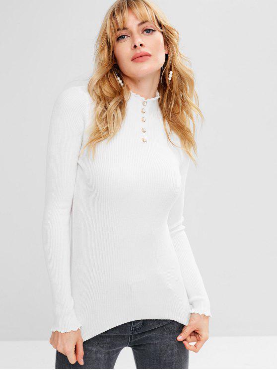Pull Côtelé en Fausse Perle - Blanc Taille Unique