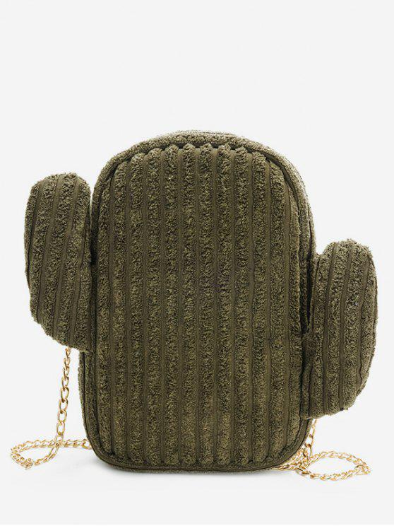 lady Cactus Metal Chain Shoulder Bag - DARK FOREST GREEN