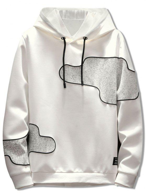 unique Irregular Patch Casual Pullover Hoodie - WHITE L