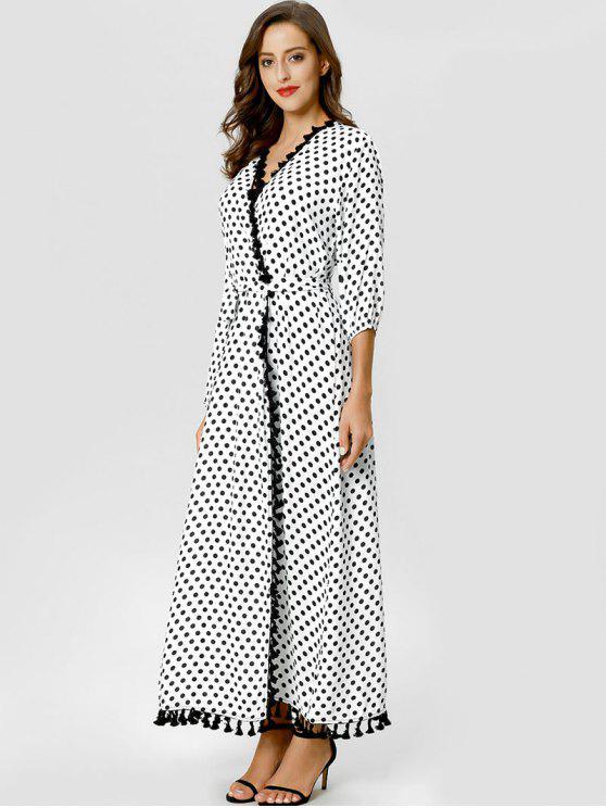 shop Tassels Polka Dot Wrap Dress - WHITE M