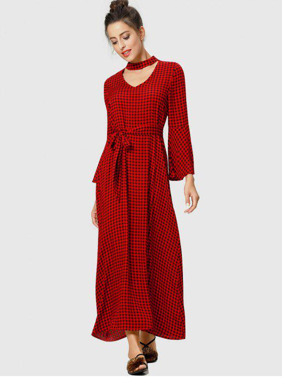c2aba964f1 34% OFF  2019 Flare Sleeve Plaid Choker Maxi Dress In LAVA RED ...