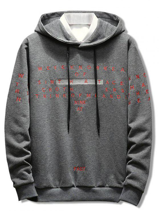 hot Letter Embroidery Casual Drawstring Hoodie - GRAY 3XL