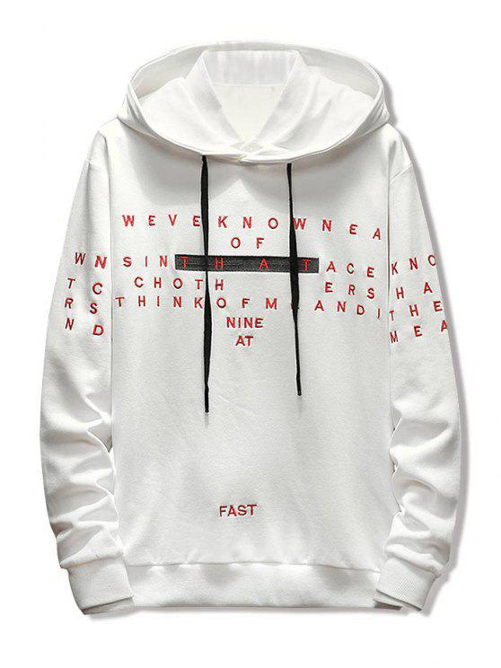 shop Letter Embroidery Casual Drawstring Hoodie - WHITE 3XL